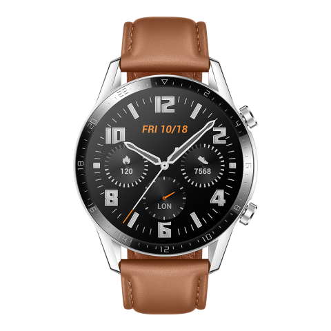 HUAWEI Watch GT 2 46mm Pebble Brown Leather Strap